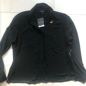Sheer Black Long Sleeve Button Down Top